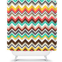 Shower Curtain Aztec Tribal Chevron Colorful Turquoise Orange Geometric Pattern Bathroom Bath Polyester Made in the USA