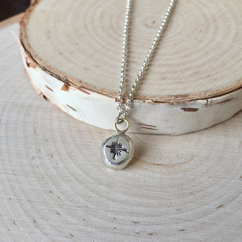 Tiny Star, Stamped Silver Charm Pendant, Organic Sterling Silver Necklace with Sterling Rolo Chain, Minimalist Layering, Two-Tone Pendant