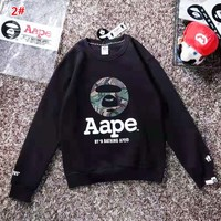 Bape Aape New fashion letter camouflage pattern couple long sleeve top 2#
