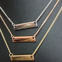 Dainty Gold Tone Bar Necklace