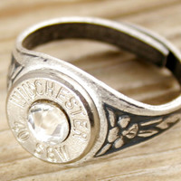 40 Caliber Antiqued Silver Adjustable Bullet Ring WIN-40-N-ASR