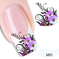 1PCS DIY Nail Decoration Flower Patterns Nail Stickers Mixed Decals Transfer Manicure Tips 3D Nail Art