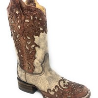 Corral Women's Sand/Cognac Laser Overlay Square Toe Boots A2870