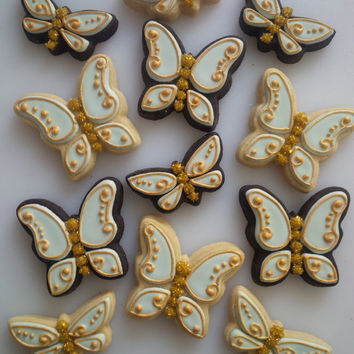 Gilded Butterfly Cookies - One Dozen Decorated Cookies