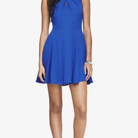 PLEATED KEYHOLE FIT AND FLARE DRESS - BLUE from EXPRESS