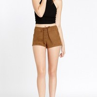 Felicity Lace Up Faux Suede Shorts