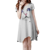 Ladies Short Sleeve Cat Head Patterned Asymmetric Hem Dress