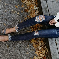 Stretch Jeans  Skinny Slim-Fit Ripped Pants
