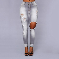 S-XL 34 New 2016 Hot Fashion Ladies Cotton Denim Pants Stretch Womens Bleach Ripped Skinny Jeans Denim Jeans For Female