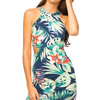 Plant Print Sleeveless Bodycon Mini Dress