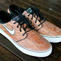 Custom Hand Painted Woodgrain Nike Stefan Janoski Skate Shoes