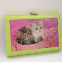 FREE SHIPPING--Vintage repurpose kitten art from the 70s--pink and lime green, kitsch, cute, kittens, cats