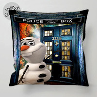Olaf Tardis Doctor Who Sherlock Holmes pillow case, cover ( 1 or 2 Side Print With Size 16, 18, 20, 26, 30, 36 inch )