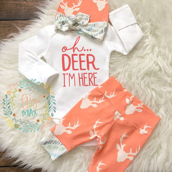 Newborn Baby coming home outfit Buck Coral Deer - oh deer im here, baby girl shower gift, going home outfit new baby going home outfit