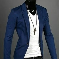 Hot sale! Stylish Men's Casual Slim fit One Button Suit Blazer Coat Jackets