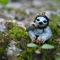SLOTH  a porcelain ceramic miniature hand painted figurine on a 14kt gold necklace
