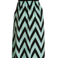 Enchanted Evening Maxi Strapless Dress - Mint and Black