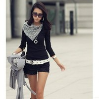Fashionable and Special Fichu Collar Design Long Sleeve T-Shirt China Wholesale - Sammydress.com