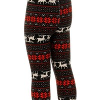 Girls Reindeer legging, Blk-Red