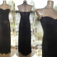 Vintage 90s 70s Padded Cup Long Black Jersey Dress Gown S/M Formal Cocktail Disco Gown Rhinestone Halter Straps