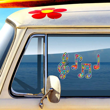 Set of 4 Music Note Stickers - Colorful Geometric Triangle Pattern Musical Car Decal Vinyl Laptop Decal Treble Clef Hippie Musician Stickers