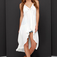 Play Ruffle Ivory Lace High-Low Vest