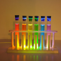 Light-up Chemistry Test Tube Set Decoration. LED operated using Safe Dyes. USB powered makes great Student gift.