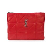 Saint Laurent YSL Jamie Rouge Red Leather Clutch 533158