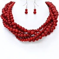 Statement Chunky Braided Strands Coral Red Stone Look Pearl Beads Necklace Earrings Set Gift Bijoux