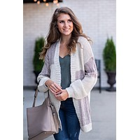 Dreaming Of Autumn Cardigan : Taupe/Cream