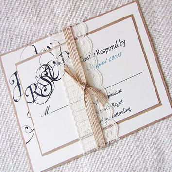 Rustic Calligraphy Names Lace and Burlap Ribbon Wedding Invitation Deposit Listing