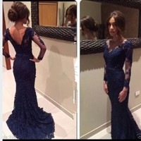 Navy Blue Lace Evening Dress 2016 With Sheer Long sleeves Mermaid Prom gowns