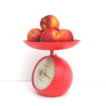 Red Soviet vintage food scale USSR home kitchen decor bright farmhouse decor