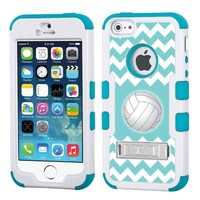 One Tough Shield ® Hybrid 3-Layer Kick-Stand Case (White/Teal) for Apple iPhone 5 5s - (Chevron/Teal/Volleyball)