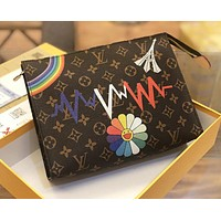 LV Louis Vuitton New fashion monogram leather cosmetic bag file package