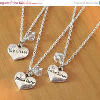 ON SALE Set of 3 Sisters Necklaces, swarovski Birthstone necklaces, Little Middle Big sister, silver necklaces, anniversary sister gift