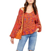 Free People Womens Highland Cable Knit Oversized V-Neck Sweater, Various Sizes