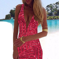 Rose Red V-neck Sleeveless Gold Sequined Mini Bodycon Dress