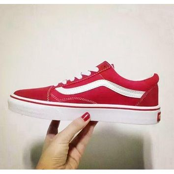Vans Red Canvas Skate Shoes