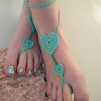 mint barefoot sandals - Coral barefot sandals - beach wedding - bride foot jewelry - bridesmaid acce - lavender barefoot sandals
