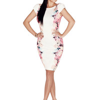 Dress White Floral Party Bodycon Dresses Pencil Midi Dress Plus Size XXL Cap