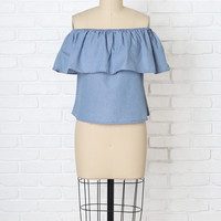 Chambray Off-The-Shoulder Blouse-FINAL SALE