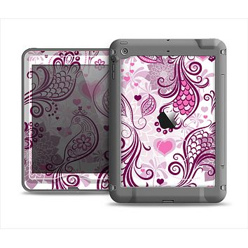 The White and Pink Birds with Floral Pattern Apple iPad Air LifeProof Nuud Case Skin Set