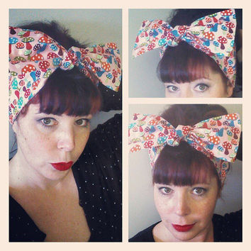 Mushrooms on Pink Headwrap Bandana Hair Big Bow Tie 1940s 1950s Vintage Style