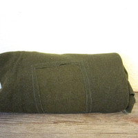 vintage army green Wool Camp Blanket / twin or cot size with patch
