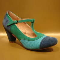 Blue & Green Malibu T-Strap Pump - Women | something special every day