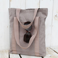 natural linen tote shooping messenger urban modern canvas everyday bag