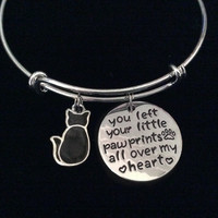 You Left Your Little Paw Prints All Over My Heart Black Cat Expandable Charm Bracelet Adjustable Wire Silver Bangle Meaningful Kitten Animal Lover Gift