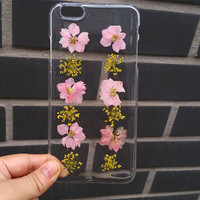 galaxy note 5 case,S6 Edge Case,pink Flower Samsung Galaxy S6 Case, Flower Galaxy S5 Case Dried Flower S4 Case,pressed flower  iphone cover