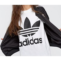 Adidas Popular Women Men Loose Long Sleeve Round Collar Top Sweater I